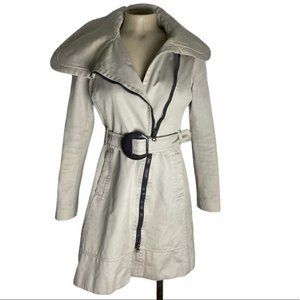 SOIA & KYO Taupe Belted Trench Coat Size Small GUC